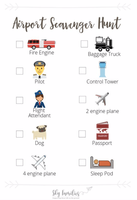 Looking to keep kids occupied when at the airport? Download this scavenger hunt before you travel or take a screenshot and use markup or edit the image to mark off the items as they find them.