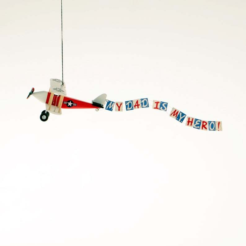 personalised hanging wooden airplane father dad