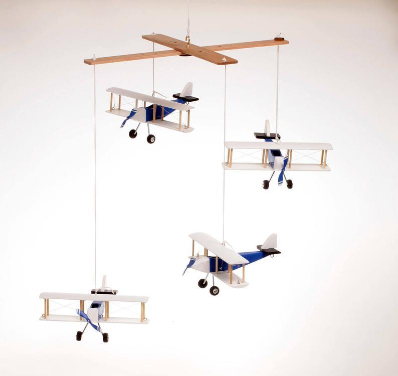 wooden airplane mobile baby nursery